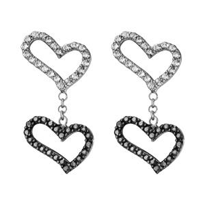 Boucles d\'oreilles pendantes en argent rhodié 1 coeur en oxyde blanc relié à 1 coeur en oxydes noirs par 1 chaînette et fermoir poussette - Vue 1