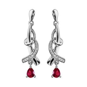 Boucles d\'oreilles pendantes en argent rhodié collection joaillerie 1 brin orné d\'oxydes blancs sur 1 brin lisse avec gros oxyde rouge fermoir poussette - Vue 1