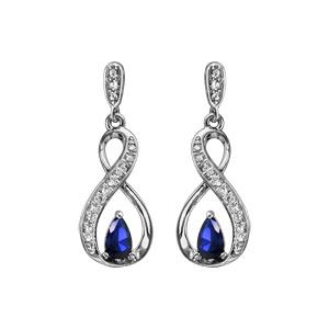 Boucles d\'oreilles pendantes en argent rhodié collection joaillerie infini et pierre bleu foncé fermoir poussette - Vue 1
