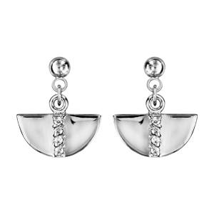 Boucles d\'oreilles pendantes en argent rhodié demi lune suspendue avec barrette d\'oxydes blancs sertis au milieu et fermoir clou avec poussette - Vue 1