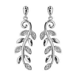 Boucles d\'oreilles pendantes en argent rhodié feuillage lisse et orné d\'oxydes blancs fermoir poussette - Vue 1