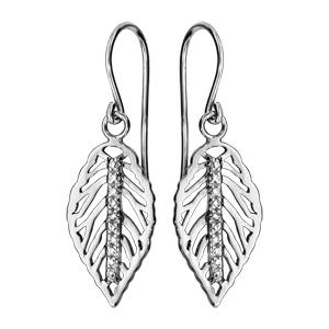 1ee01ab3b08 Boucles d oreilles pendantes en argent rhodié feuille suspendue nervurée  ajourée avec barrette d oxydes blancs ...