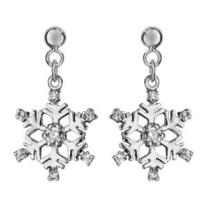 Boucles d\'oreilles pendantes en argent rhodié flocon suspendu orné d\'oxydes blancs sertis et fermoir clou avec poussette - Vue 1