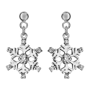 Boucles d\'oreilles pendantes en argent rhodié flocon suspendu orné d\'oxydes blancs sertis et fermoir poussette - Vue 1