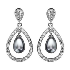 Boucles d\'oreilles pendantes en argent rhodié forme goutte ornée d\'oxydes blancs avec perle grise suspendue et fermoir poussette - Vue 1