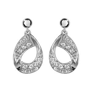 Boucles d\'oreilles pendantes en argent rhodié goutte suspendue en ruban vrillé lisse et ornée d\'oxydes blancs sertis et fermoir clou avec poussette - Vue 1