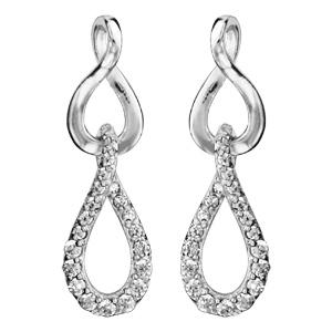 Boucles d\'oreilles pendantes en argent rhodié 2 ovales vrillés suspendus dont 1 orné d\'oxydes blancs sertis et fermoir clou avec poussette - Vue 1