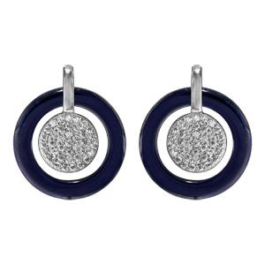 Boucles doreilles pendantes en argent rhodié pastilles oxydes blancs sertis et contour céramique bleu et fermoir poussette