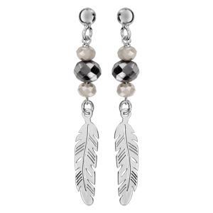 en arrivant la clientèle d'abord grand assortiment Boucles d'oreilles pendantes en argent rhodié 2 perles blanches  synthétiques et 1 pierre noire facetée avec 1 plume ajourée suspendue à  l'extrémité et ...