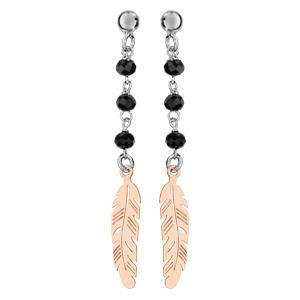 Boucles d\'oreilles pendantes en Argent rhodié plume dorée suspendue avec perles facettées noires et fermoir poussette - Vue 1