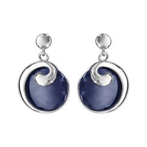 Boucles d\'oreilles pendantes en argent rhodié rond en céramique bleu marine avec moitié du tour lisse qui se fini en bague en haut - fermoir clou avec poussette - Vue 1