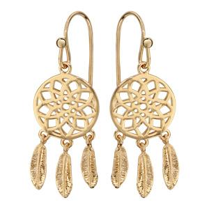 Boucles d\'oreilles pendantes en plaqué or attrape rêve et fermoir crochet - Vue 1