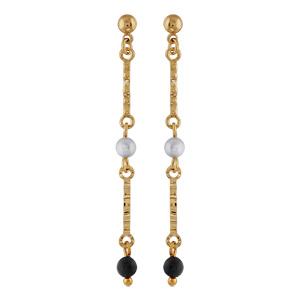 Boucles d\'oreilles pendantes en plaqué or 2 baguettes avec 1 perle blanche synthétique au milieu et boule en onyx au bout et fermoir clou avec poussette - Vue 1