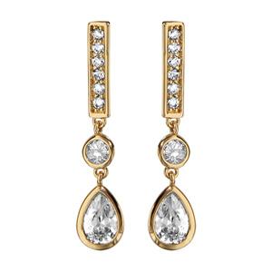 Boucles d\'oreilles pendantes en plaqué or barrette avec oxyde rond blanc et oxyde blanc en forme de goutte suspendus et fermoir poussette - Vue 1