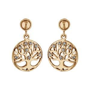 Boucles d\'oreilles pendantes en plaqué or cercle suspendu avec arbre de vie découpé orné d\'oxydes blancs et fermoir poussette - Vue 1