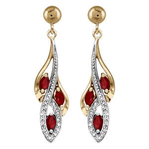 Boucles d\'oreilles pendantes en plaqué or collection joaillerie grappe avec 3 navettes d\'oxydes rouges et rails d\'oxydes blancs et fermoir poussette - Vue 1
