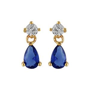 Boucles d\'oreilles pendantes en plaqué or collection joaillerie oxyde blanc et goutte en oxyde bleu foncé suspendu et fermoir poussette - Vue 1