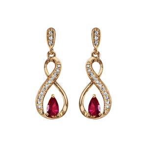Boucles d\'oreilles pendantes en plaqué or collection joaillerie torsade avec demi-rail d\'oxydes blancs et oxyde rouge et fermoir poussette - Vue 1