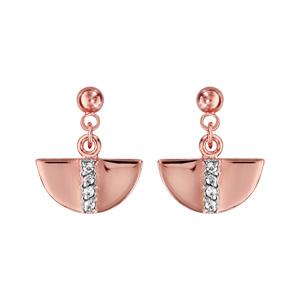 Boucles d'oreilles pendantes en plaqué or demi lune suspendue avec barrette d'oxydes blancs sertis au milieu et fermoir tige à poussette