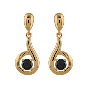Boucles d'oreilles pendantes en plaqué or forme escargot avec oxyde noir serti au centre et fermoir tige à poussette