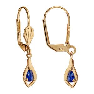 Boucles d\'oreilles pendantes en plaqué or ovale suspendu avec oxyde bleu foncé et fermoir dormeuse - Vue 1