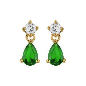 Boucles d\'oreilles pendantes en plaqué or oxyde blanc sur le clou et oxyde vert en forme de goutte suspendu et fermoir clou avec poussette - Vue 1