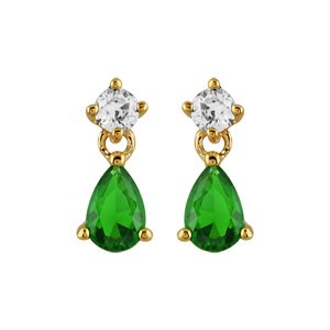 Boucles d'oreilles pendantes en plaqué or oxyde blanc sur le clou et oxyde vert en forme de goutte suspendu et fermoir tige à poussette
