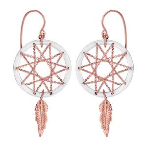 Boucles d'oreilles pendantes en plaqué or rose attrape rêve avec tour en céramique blanche, milieu en chaînettes et plume suspendue et fermoir tig à poussette