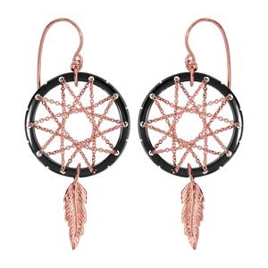 Boucles d'oreilles pendantes en plaqué or rose attrape rêve avec tour en céramique noire, milieu en chaînettes et plume suspendue et fermoir tig à poussette