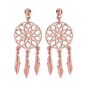 Boucles d'oreilles pendantes en plaqué or rose attrape rêve et fermoir tige à poussette