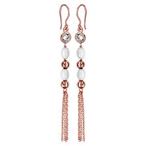 Boucles d'oreilles pendantes en plaqué or rose 1 oxyde blanc avec 2 olives en céramique noire et 2 boules lisse alternés et plusieurs chaînettes suspendus et fermoir crochet