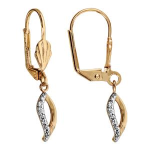Boucles d\'oreilles pendantes en plaqué or vague suspendue ornée d\'oxydes blancs et fermoir dormeuse - Vue 1