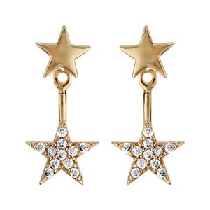 Boucles d'oreilles plaqué or 2 éléments étoile lisse et étoile oxydes blancs sertis