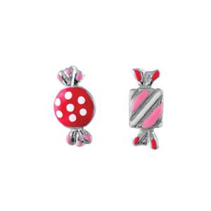 58eca38fd5791 Boucles d oreilles pour enfant en argent rhodié bonbons roses et fermoir  clou avec poussette