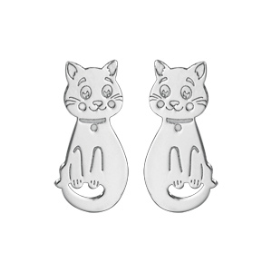 Boucles d\'oreilles pour enfant en argent rhodié chat fermoir poussette - Vue 1