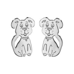 Boucles d\'oreilles pour enfant en argent rhodié chien et fermoir poussette - Vue 1