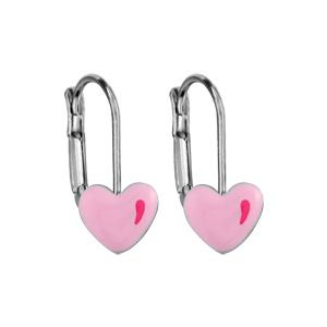Boucles d\'oreilles pour enfant en argent rhodié coeur rose et fermoir dormeuse - Vue 1
