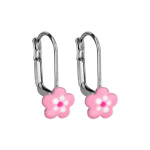 Boucles d\'oreilles pour enfant en argent rhodié fleur rose et fermoir dormeuse - Vue 1