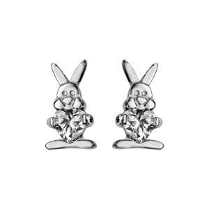 Boucles d\'oreilles pour enfant en argent rhodié lapin tenant 1 oxyde blanc et fermoir clou avec poussette - Vue 1