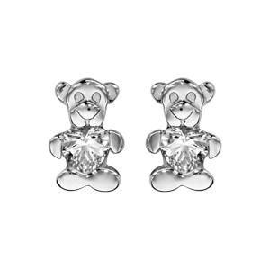 Boucles d\'oreilles pour enfant en argent rhodié ourson tenant 1 oxyde blanc et fermoir poussette - Vue 1