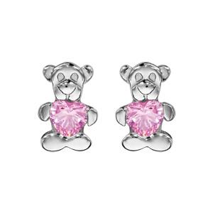 Boucles d\'oreilles pour enfant en argent rhodié ourson tenant 1 oxyde rose et fermoir poussette - Vue 1