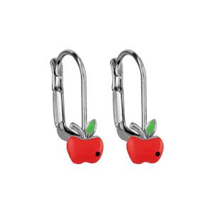 Boucles d\'oreilles pour enfant en argent rhodié pomme rouge et fermoir dormeuse - Vue 1