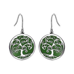 Boucles d\'oreilles rondes en acier motif arbre de vie vert et fermoir crochet - Vue 1