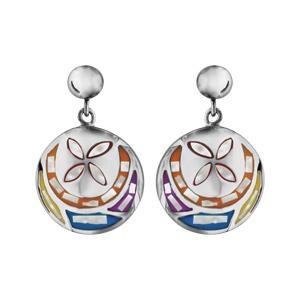 Boucles d\'oreilles Stella Mia en acier et nacre blanche véritable motif fleur et multicolore et fermoir clou avec poussette - Vue 1