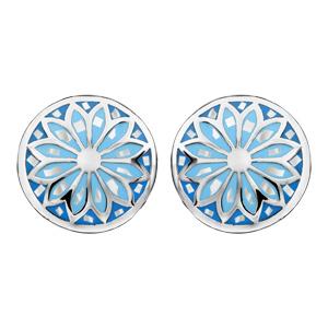Boucles d'oreilles Stella Mia en acier et nacre blanche véritable plateau rond bombé motif fleur et dégradé de bleu et fermoir tige à poussette