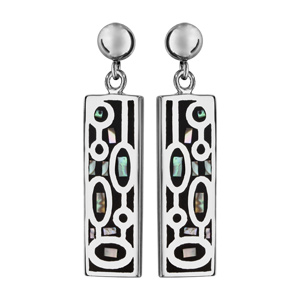 Boucles d\'oreilles Stella Mia en acier et nacre rectangle suspendu avec motifs ovales noirs - fermoir clou avec poussette - Vue 1