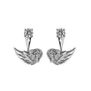 Boucles d\'oreilles suspensions réglables en argent rhodié 1 oxyde blanc serti sur le clou et aile d\'ange ornée d\'oxydes blancs sertis sur la suspension et fermoir clou avec poussette - Vue 1