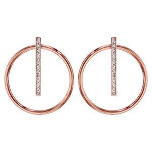 Boucles d'oreilles tige acier et PVD rose cercle barrette résine blanche et strass