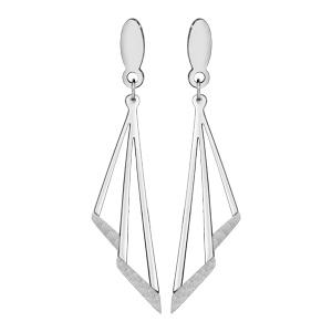 Boucles d'oreilles tige acier pendantes avec granité