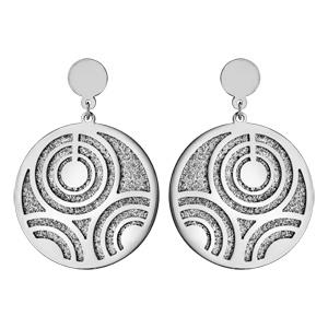 Boucles d'oreilles tige acier rond granité et motif multi cercles